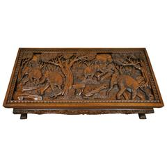 20th Century Vietnamese Hand-Carved Asian Coffee Low Table with Elephant Scene