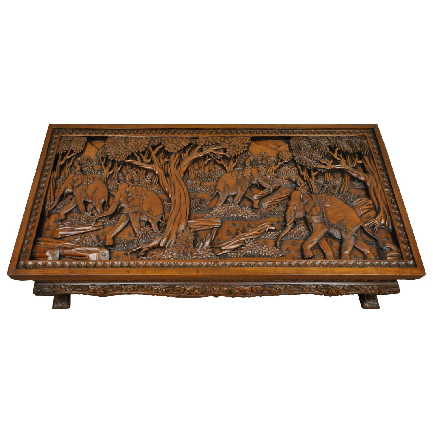Chinese Oval Coffee Table with Hand Carved Battle Scene and Six