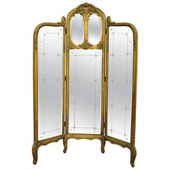 French Louis XV Style Three Section Gold Gilt Wood Mirror Screen or Room Divider