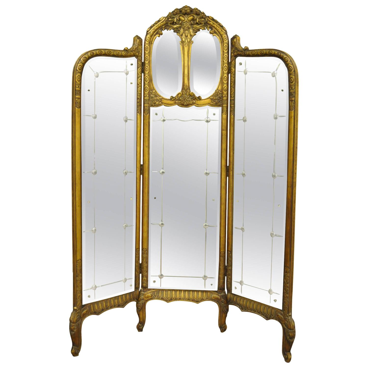 French louis xv style three section gold gilt wood mirror for Mirror screen