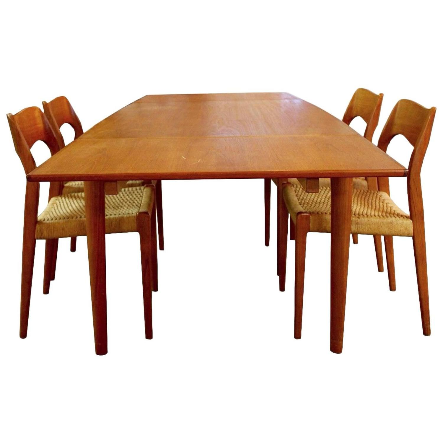 Mid century modern danish teak niels moller expandable for Modern dining table and chairs set