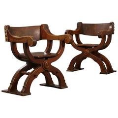 Pair of Danish Savonarola style and 'Game of Thrones' type Chairs