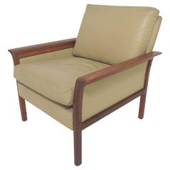Danish Modern Leather and Rosewood Lounge Armchair by Hans Olsen for Vatne