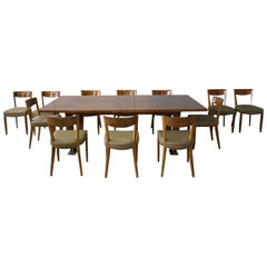 A Fine French Art Deco Dining Set by Jules Leleu, Large Table and 12 Chairs