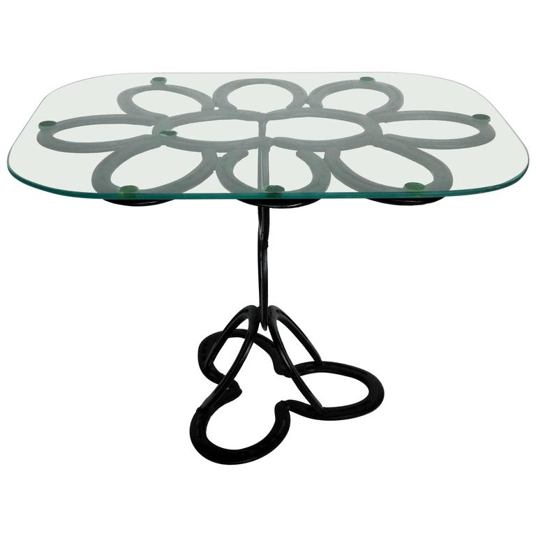Lyrical Wrought Iron Side Table Made From St. Croix Forge Horseshoes, Circa  1985 2