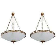 Pair of Chandeliers in the Neoclassical Spirit, circa 1950