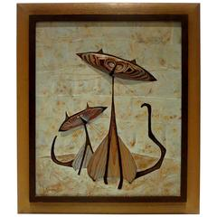 1950s Original Mixed-Media Siamese Cats Painting by J. Simmons