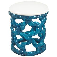 Ribbon Taboret in Blue Resin