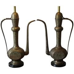 Pair of Engraved Brass Ewer Lamps