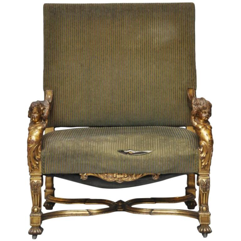 Italian Louis XIV Style Putti Gilt Chair