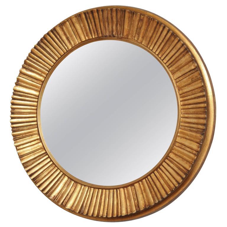 Large Carved Gilt Gold Circular Mirror