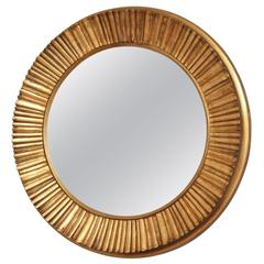 Large Carved Gilt Gold Circular Mirror