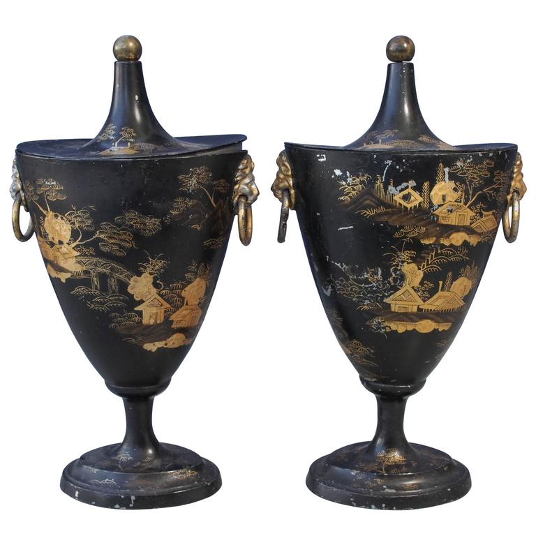 Pair of Early 19th Century Tole Piente Chestnut Urns with Chinoiserie Decoration For Sale