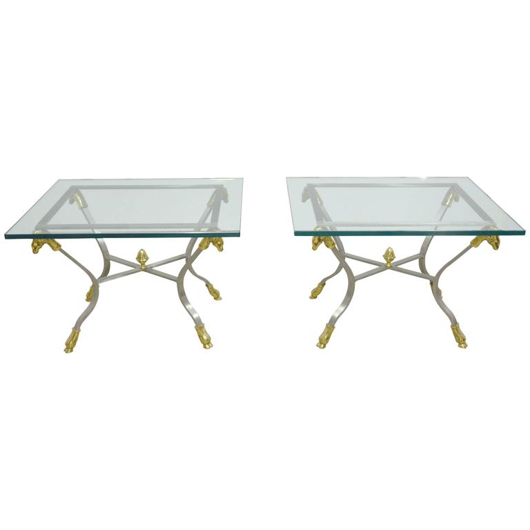 Jansen Style Pair of Steel, Brass and Glass Side Tables