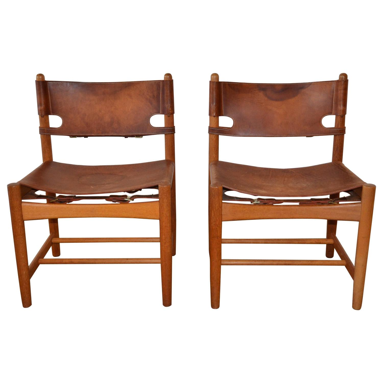 Pair of B¸rge Mogensen Leather Hunting Chairs Model 3237 at 1stdibs
