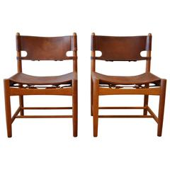 Pair of Børge Mogensen Leather Hunting Chairs Model 3237