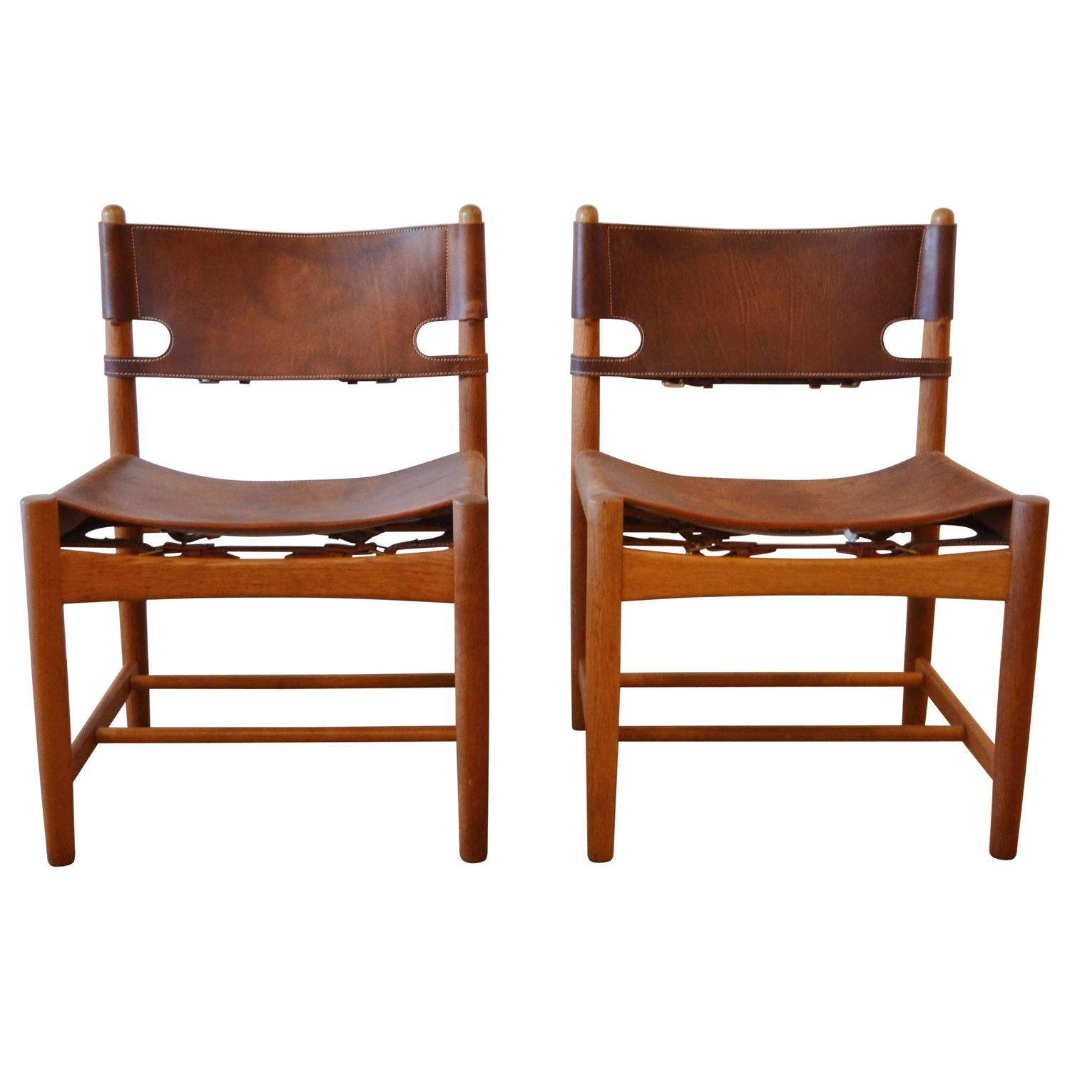 Of four chairs in oak and patinated cognac leather for sale at 1stdibs - Pair Of B Rge Mogensen Leather Hunting Chairs Model 3237