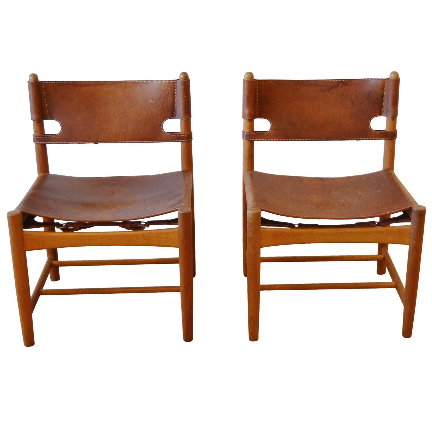 Pair of B¸rge Mogensen Leather Hunting Chairs Model 3237 For Sale