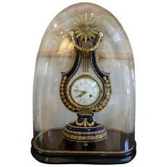French Lyre Mantel Clock with Glass Dome, Third Quarter of the 19th Century