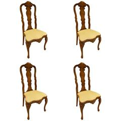 Dutch Matched Set of Four Marquetry Side Chairs, Mid-19th Century