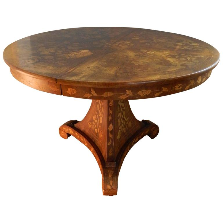 Dutch round marquetry centre or dining table on a pedestal for Round centre table designs