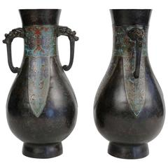 Pair of Bronze and Cloisonné Vases, Japan Champlevé, 19th Century