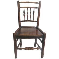 Georgian Side Chair Country Spindle Back Elm and Ash, English Circa 1800