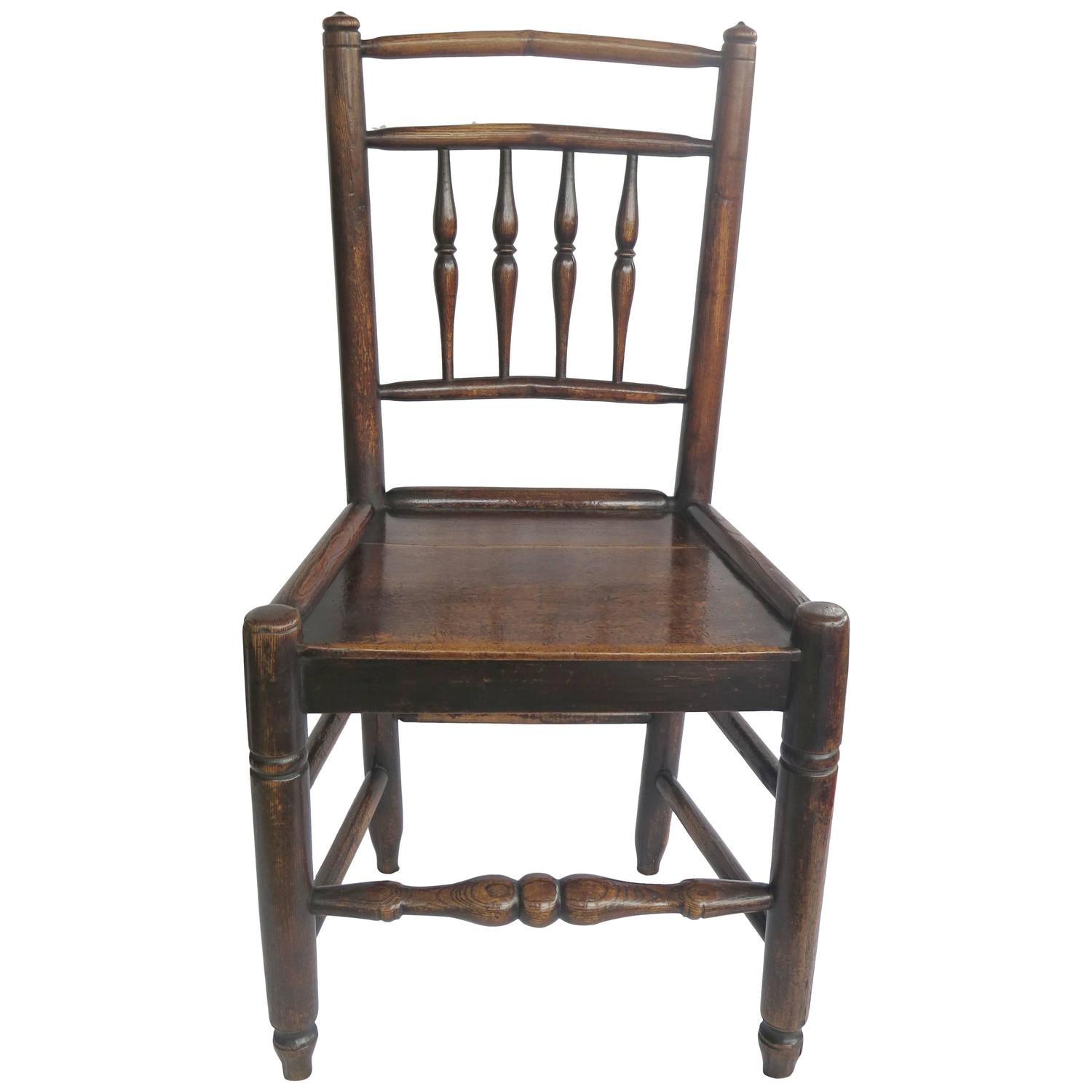 Late 18th C Country Side Chair Spindle Back Elm and Ash