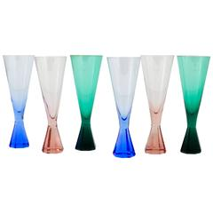 Six Faceted Diamond Champagne Flutes, Crystal Glass, Austria, 1950s