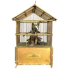 Victorian Automaton Birdcage with Three Taxidermy Birds, French, 1890