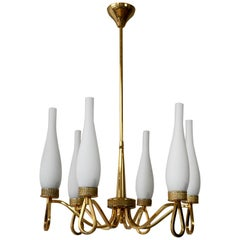 Hollywood Regency Gilt Brass and Opaline Glass Chandelier