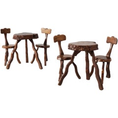 Set of Root Chairs and Side Table, France