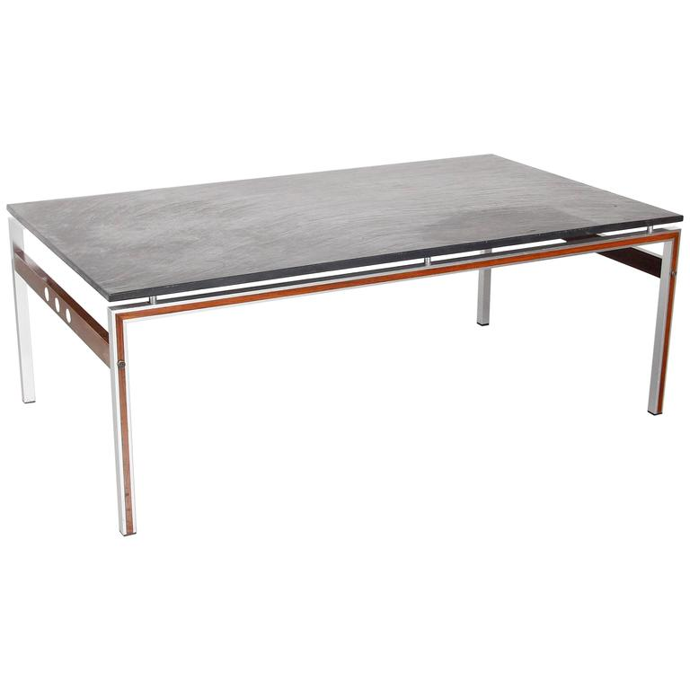 Coffee Table With Slate Stone Top Denmark Circa 1960 For Sale At 1stdibs