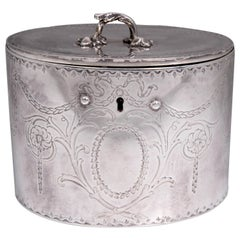 Antique Sterling Silver Repousse Tea Caddy Box 1786 William Plummer London