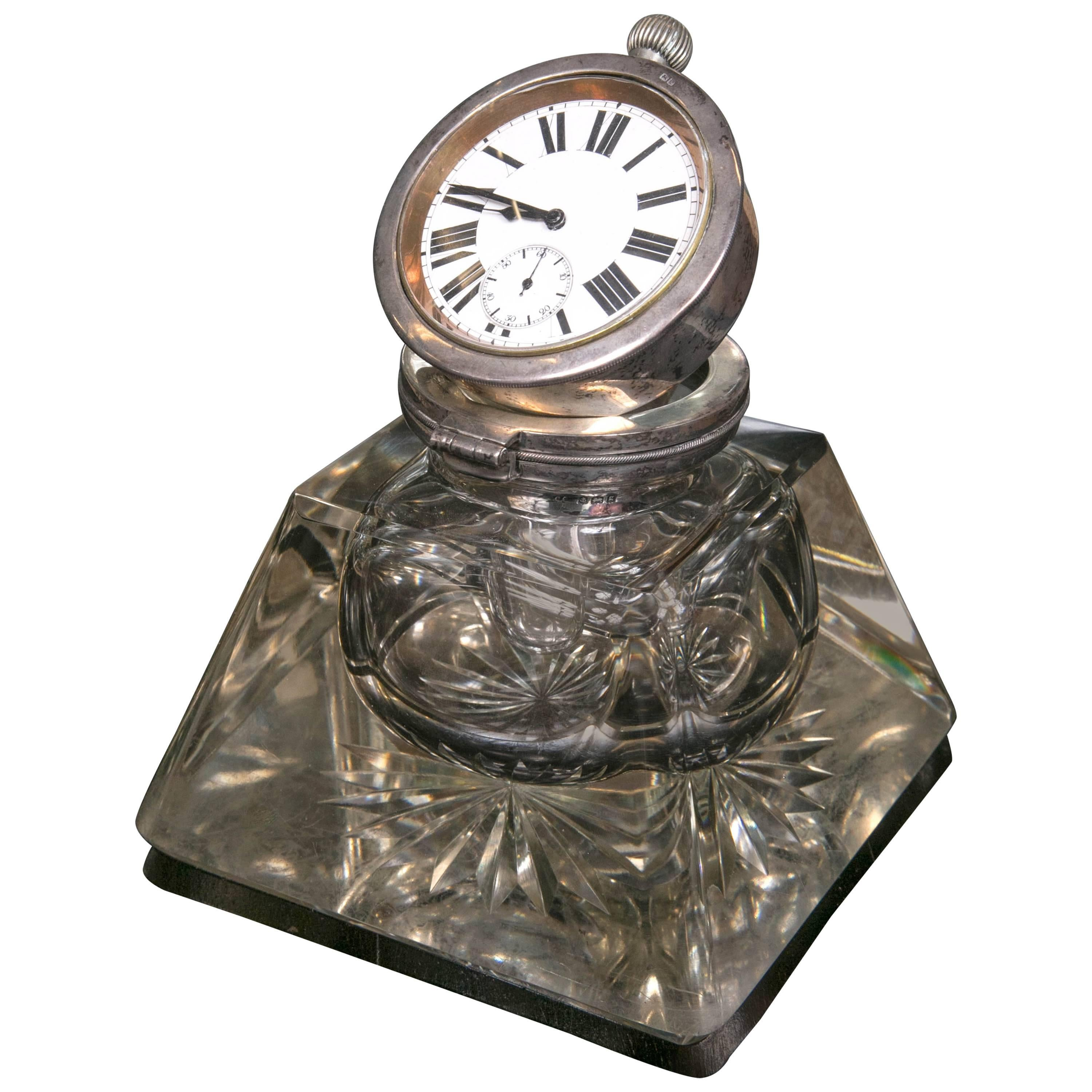 Antique English 1907 Pocket Watch Inkwell Sterling Silver Top Burst Base Crystal