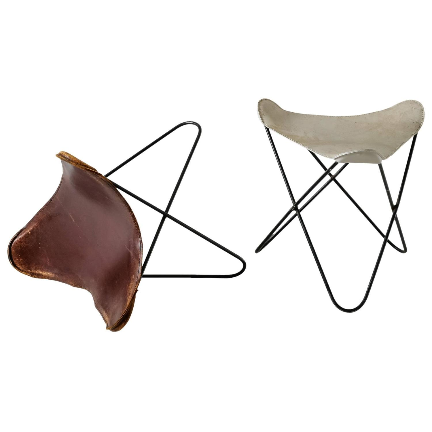 Pair Butterfly Ottomans Or Stools By Jorge Ferrari Hardoy