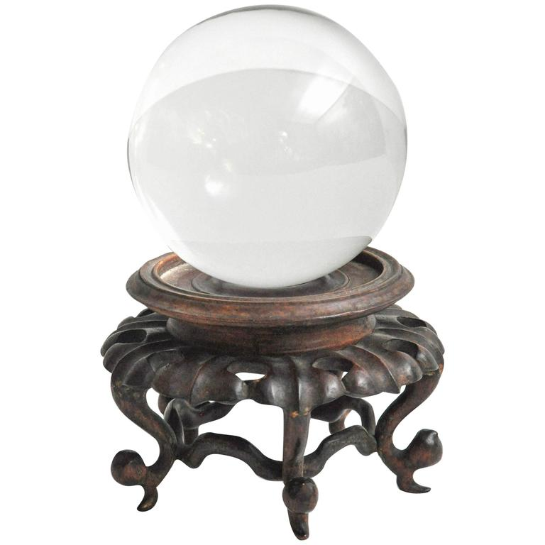 Crystal Sphere On Japanese Carved Rosewood Stand At 1stdibs