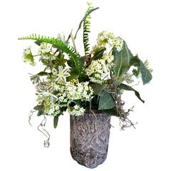 Diminutive Faux Bois Container with Faux Flowers