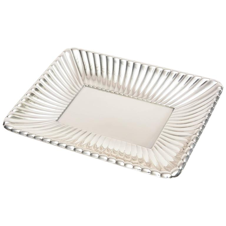 Radiating Ribbed Reed and Barton Polished Sterling Silver Serving Tray