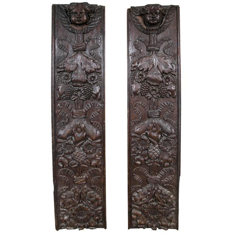 Pair antique carved wood decorative panels at stdibs