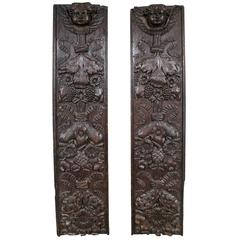 Pair Antique Carved Wood Decorative Panels