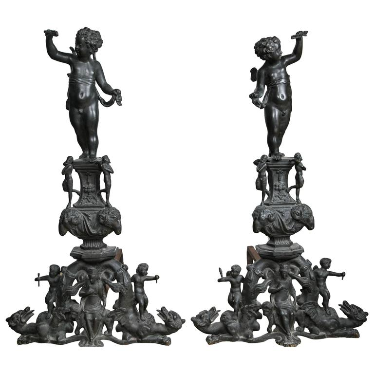 Pair of Patinated Bronze Renaissance Style Andirons