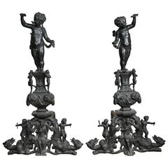 Pair of Patinated Bronze Renaissance Style Andirons