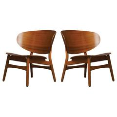 Hans Wegner, Pair of Shell Lounge Chairs