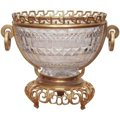 French Napoleon III Crystal Bowl with Gilt Bronze Mounts in the Chinese Taste