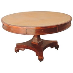 Early 19th C English Regency Library Table with Writing Slide