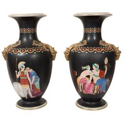 Pair Black Vases Neoclassical Figures