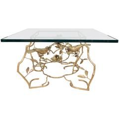 Square Brass and Glass Aviary Themed Coffee Table