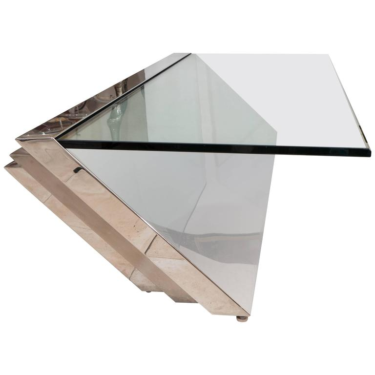 Cantilevered Stainless Steel Coffee Table By J Wade Beam For Brueton At 1stdibs