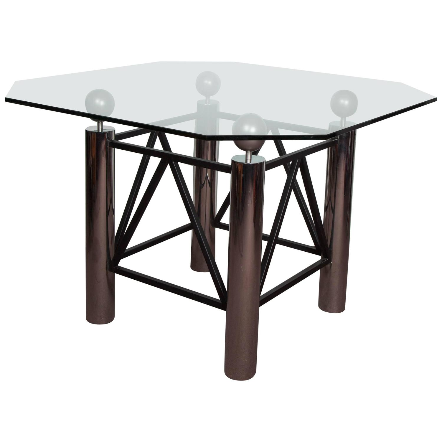 Center Table With Glass : ... Modern Dining or Center Table in Chrome, Metal and Glass at 1stdibs